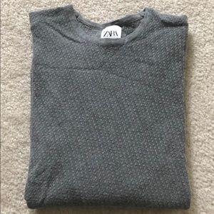 Zara long sleeve texture gray top medium